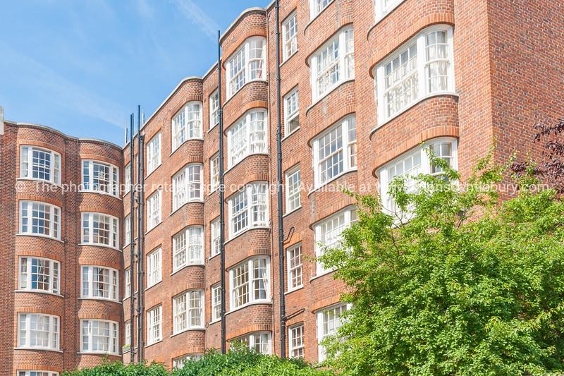 Victorian brick architecture of London.