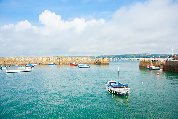 walled harbor at St Michael's Mount Cornwall UK