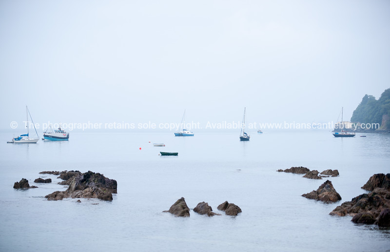 Cool misty morning across Cawsand bay England