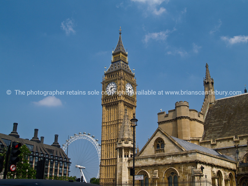 """Big Ben in foreground of photograph, London Eye in background. A view of the UK. SEE ALSO:   <a href=""""http://www.blurb.com/b/893070-impressions-of-the-uk"""">http://www.blurb.com/b/893070-impressions-of-the-uk</a>"""
