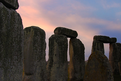Stonehenge at sunrise, from inside the ring of stones.