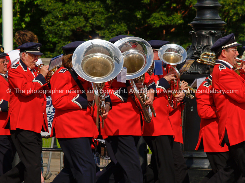 """Brass band on parade, The Mall, London, England, Britain, United Kingdom. SEE ALSO:   <a href=""""http://www.blurb.com/b/893070-impressions-of-the-uk"""">http://www.blurb.com/b/893070-impressions-of-the-uk</a>"""