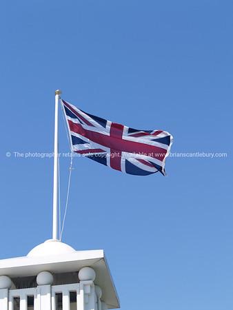 Union Jack flag above Brighton Pier, England, Britain, United Kingdom. SEE ALSO:  www.blurb.com/b/893070-impressions-of-the-uk
