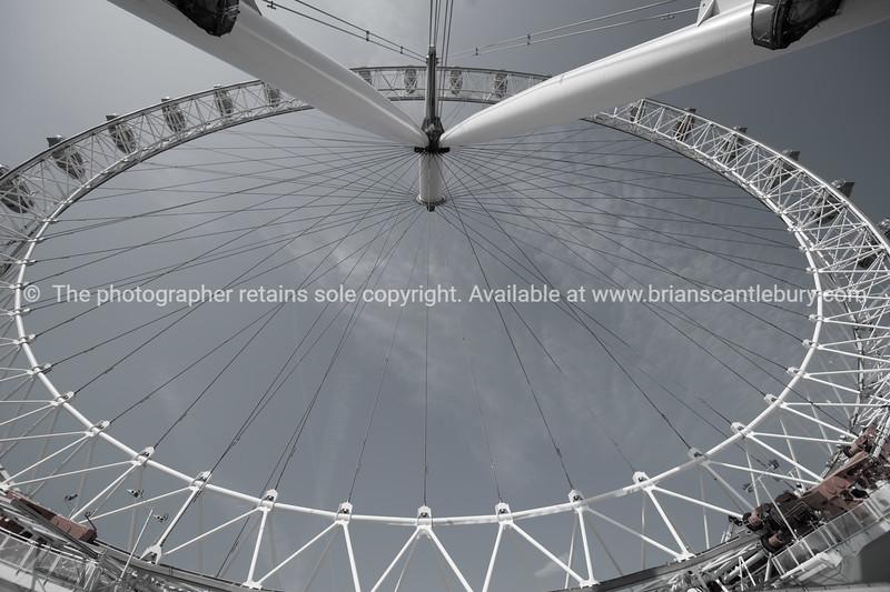 Ferris wheel closeup, desaturated image.