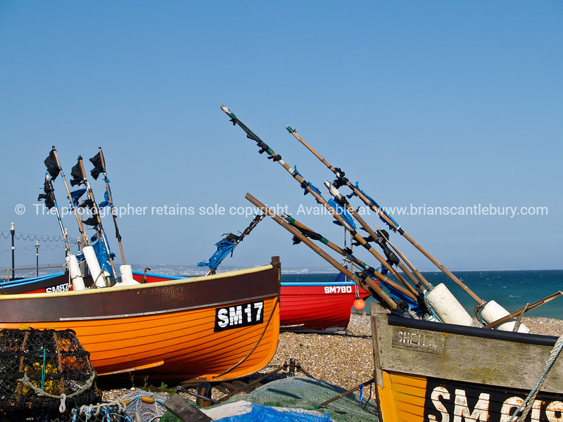 """Traditional fishing boats lying on beach at Worthing, England, Britian, United Kingdom. SEE ALSO:   <a href=""""http://www.blurb.com/b/893070-impressions-of-the-uk"""">http://www.blurb.com/b/893070-impressions-of-the-uk</a>"""