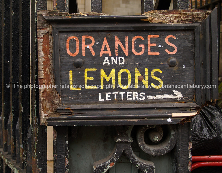 """Oranges and Lemons, sign on street in Shoreditch, London. A view of the UK SEE ALSO:   <a href=""""http://www.blurb.com/b/893070-impressions-of-the-uk"""">http://www.blurb.com/b/893070-impressions-of-the-uk</a>"""