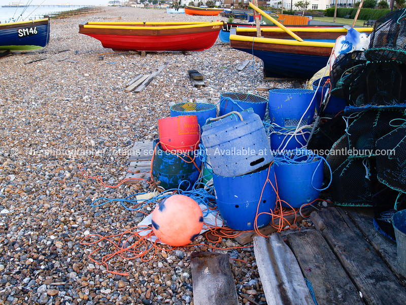 """Fishing gear, buckets, buoys, nets and boats, Worthing, England, Britain, United Kingdom. SEE ALSO:   <a href=""""http://www.blurb.com/b/893070-impressions-of-the-uk"""">http://www.blurb.com/b/893070-impressions-of-the-uk</a>"""