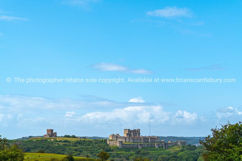 Dover Castle in English landscape