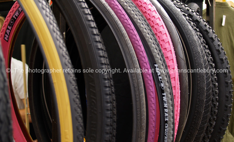 """Bicycle tyres, close-up colour selection. A view of the UK SEE ALSO:   <a href=""""http://www.blurb.com/b/893070-impressions-of-the-uk"""">http://www.blurb.com/b/893070-impressions-of-the-uk</a>"""