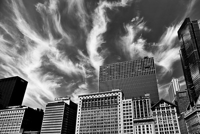 Chicago, Il. in the early morning.  Lovely clouds framing the tall buildings.