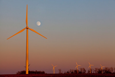 Moonrise Over Wind Farm Western Minnesota Sunset 1_4348