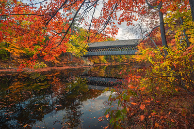 Hinniker Covered Bridge In Autumn
