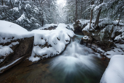 Basin Waterfall In The Snow