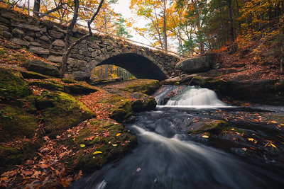 Gleason Falls Stone Bridge In Autumn