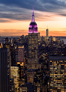 The Empire State Building and NYC Skyline from the Top of the Rockefeller Centre at Sunset