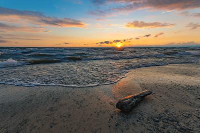 Beach Log Lake Erie Sunset