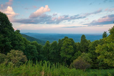 Dusk Colors Over The Blue Ridge Mountains
