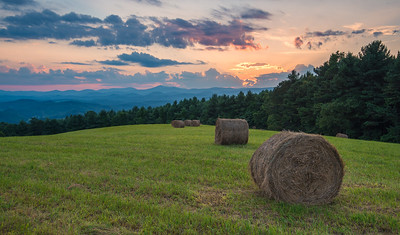 Sunset and Hay Bales in the Blue Ridge Mountains
