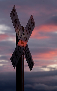 Railroad Crossing Sing Sunset Reflection_1505