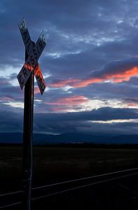 Railroad Crossing Sign Sunset_1492