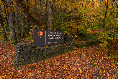 Entry Sign At Great Smoky Mountains National Park