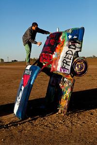 Grafitti Artist Cadillac Ranch Amarillo TX_2880