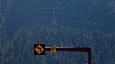 Road Sign Power Lines Stsven's Pass Northern Cascades WA_0914