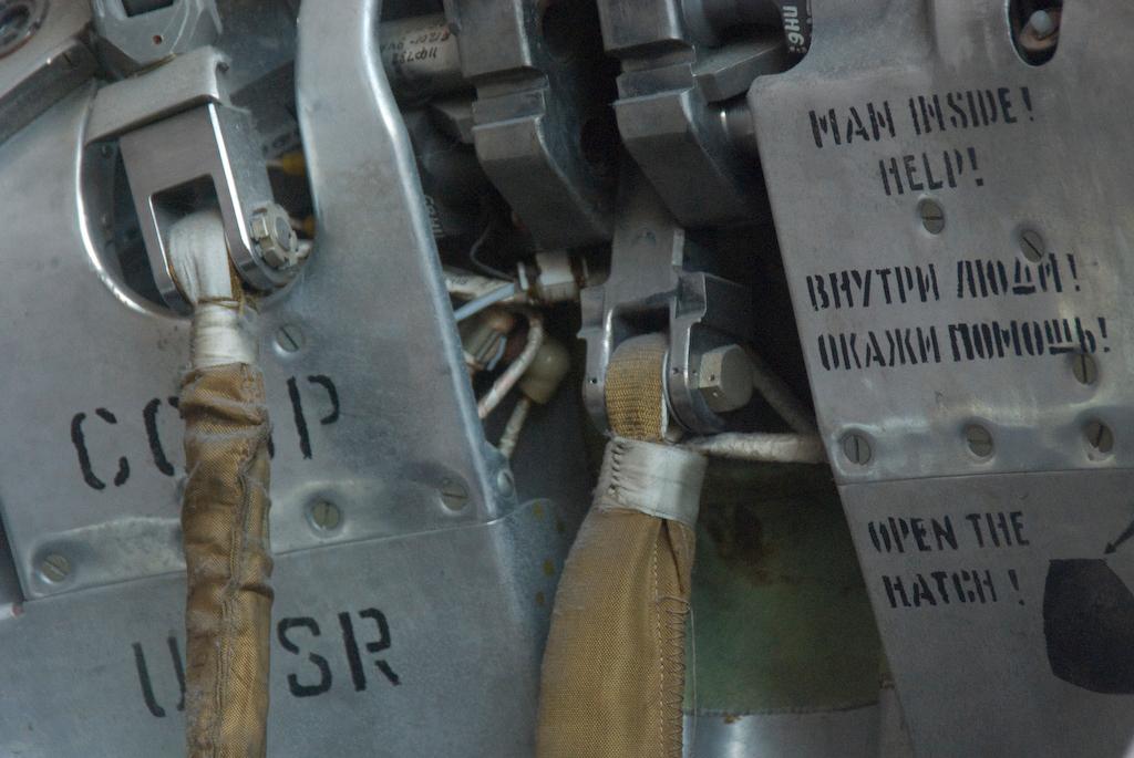 Man inside! help! Exterior detail of Soviet era space capsule.