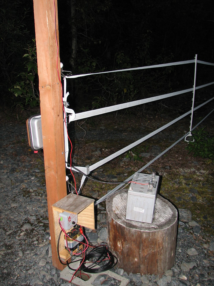 Electric fence to keep the bears out of camp