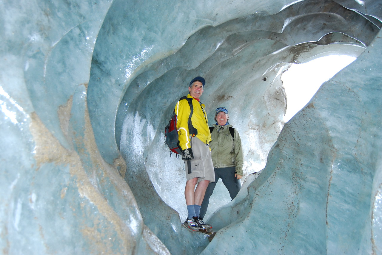 Allison and I inside an ice cave at the base of Laughton Glacier