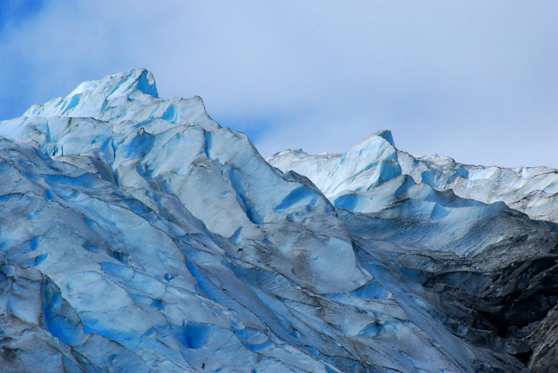 At the edge of the icefall were these beautiful blue ice features on the Davidson Glacier