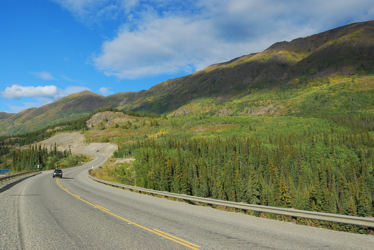 On the road from Whitehorse to Skagway in Yukon Territory