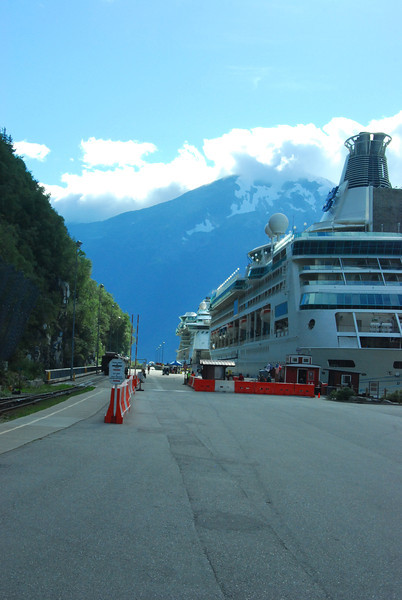 Cruise ship tied up in Skagway.