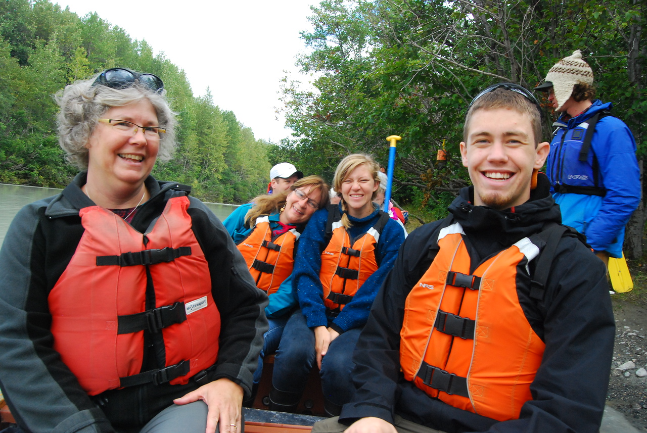 In the canoe with new friends - Leita and Amy.