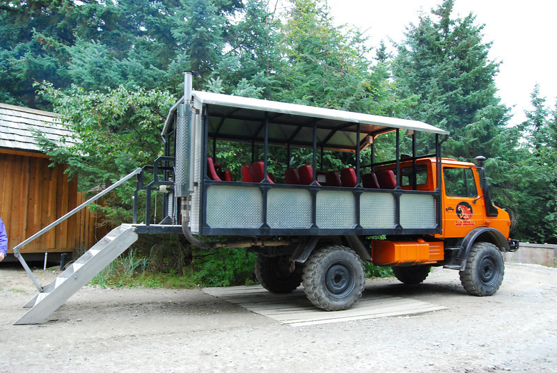 Our transportation to visit the dogsled training center near Dyea.
