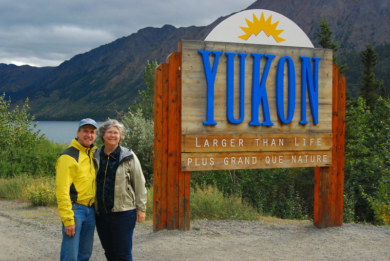 Here we are on our way to the airport in Whitehorse at the Yukon boarder.