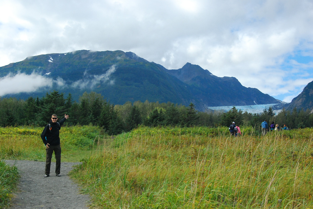Ryan pointing up at the Davidson Glacier.