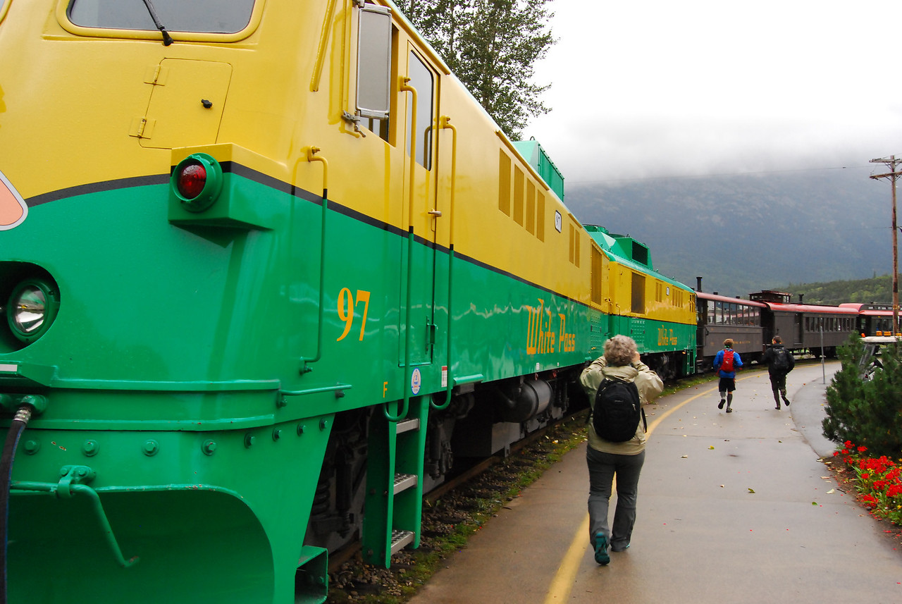 The White Pass Railroad at the station in Skagway