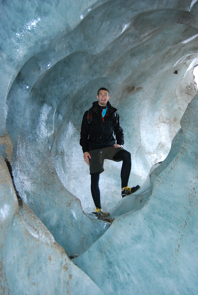 Ryan inside an ice cave on the Laughton Glacier