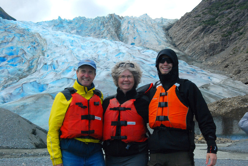 Family shot in front of Davidson Glacier