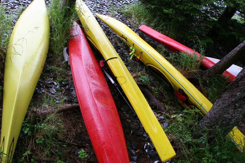 Kayaks on Fox Island, Resurrection Bay, Kenai Peninsula.