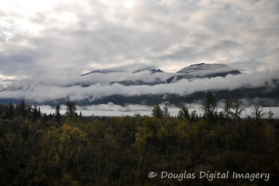 Clouds engulf the mountains as we ride the Wilderness Express Train from Anchorage to Talkeetna.