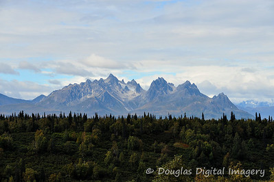 Our first view of some majestic mountains in the distance just outside of Talkeetna.
