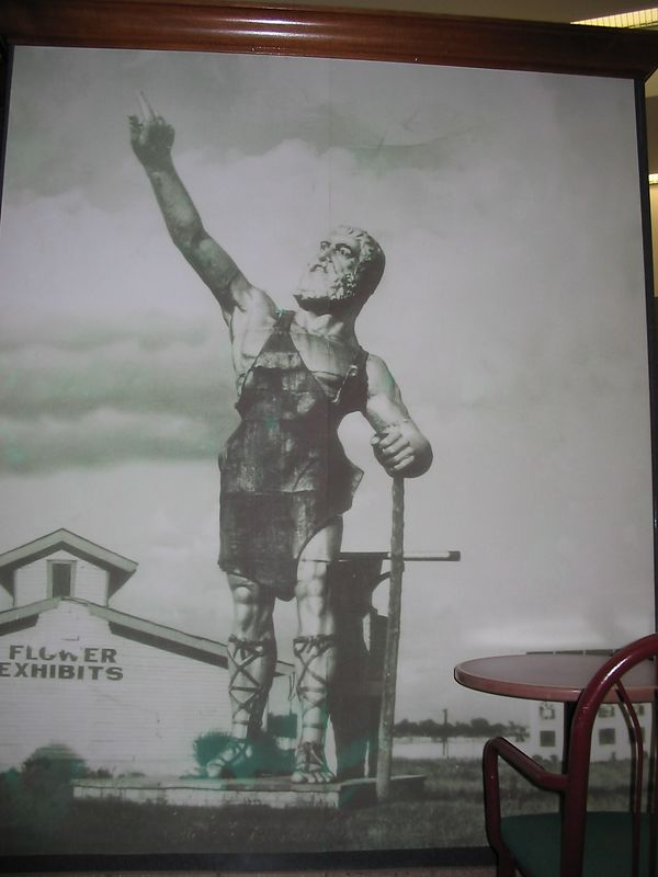 BHM airport. Picture of Vulcan re-assembled at State Fair grounds nearly 100 years ago. Note hand turned wrong way.