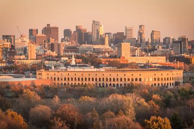 Boston from Mount Auburn. Harvard Stadium (?) in foreground