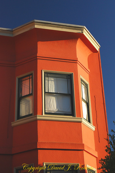 Red apartment buidling, San Fransisco, California