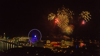 Fireworks over Navy Pier from hotel
