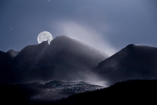 Moon over Long's Peak