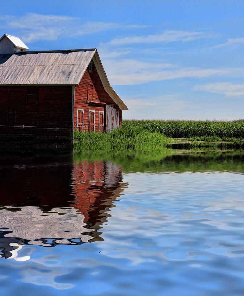 Barn flooded