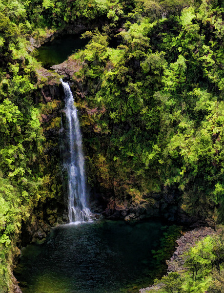 water falls Hawaii painted 2